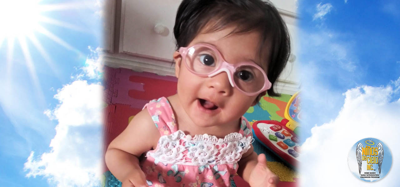 female baby with glasses
